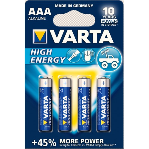 Батарейки VARTA HIGH Energy AAA/LR03 BLI 4 (щелочные-alkaline)